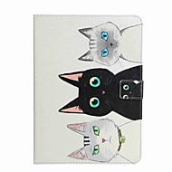 For Card Holder Wallet with Stand Flip Pattern Case Full Body Case Cat Hard PU Leather for Apple iPad 4/3/2