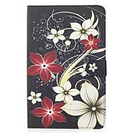 Til Samsung Galaxy Tab e 9.6 tilfælde cover blomst mønster malet kort stent tegnebog pu hud materiale flad beskyttende skal