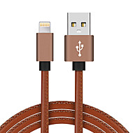JDB PU Leather Braided Aluminum Alloy Lightning 8P Fast Charging Phone USB Cable for iPhone 7 6 6s Plus 5s 5 iPadmini