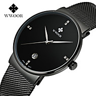WWOOR Contracted Steel Mesh With Super Thin Calendar Waterproof Quartz Watch