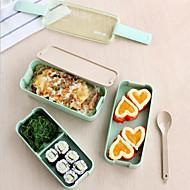 1pcs 3-dun slank bento lunchbox eten container lunchbox met lepel&Draag de zak van de koffietoestel van de lunchmagneet