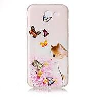 Na Etui Pokrowce Przezroczyste Wzór Wytłaczany wzór Etui na tył Kılıf Kot Motyl Kwiaty Miękkie Poliuretan termoplastyczny na SamsungJ5