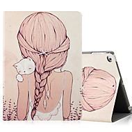 For Apple iPad (2017) iPad Air 2 iPad Air Case Cover with Stand Flip Pattern Full Body Case Sexy Lady Cat Hard PU Leather