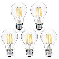 5pcs BRELONG Dimming A60 E27 8W 8LED 600LM Antique Filament Lamp Warm White / White AC22OV Transparent Bulb Light