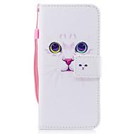 Samsung Galaxy S8 S8 ja suojus valkoinen kissa kuvio maalattu pu ihomateriaalia kortti stentti lompakko puhelin tapauksessa S7 S7 reuna