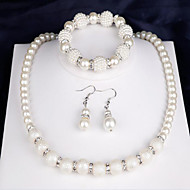Žene Svadbeni nakit Setovi Imitacija Pearl Moda kostim nakit Biseri Round Shape 1 Ogrlica 1 par naušnica 1 narukvica Za Party Dnevno