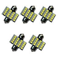 5pcs carro festoon dome lâmpada 31 milímetros 1.5w 16smd 3528 chip 80-100lm branco 6500-7000k dc12v luz de leitura luzes da placa