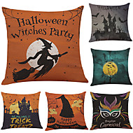 Set of 6  Halloween The Horror Night Pattern  Linen Pillowcase Sofa Home Decor Cushion Cover  Throw Pillow Case (18*18inch)