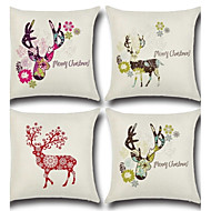 Set Of 4 Christmas Reindeer Pillow Case Creative Animals Pillow Cover Square Sofa Cushion Cover