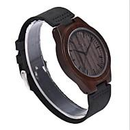 男性用 腕時計 ウッド 日本産 クォーツ 木製 本革 バンド エレガント腕時計 ブラック ブラウン