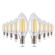4W LED gyertyaizzók C35 4 COB 300-400 lm Meleg fehér Tompítható Dekoratív AC 220-240 V 10 db.