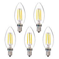 4W LED필라멘트 전구 C35 4 COB 350 lm 따뜻한 화이트 화이트 AC 220-240 V 5개