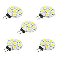 1W LED-lamper med G-sokkel 6 SMD 5050 68 lm Varm hvid Hvid Jævnstrøm 12 V 5 stk.