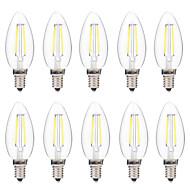2W LED필라멘트 전구 C35 2 COB 200 lm 따뜻한 화이트 화이트 장식 AC 220-240 V 10개