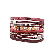 Γυναικεία Δερμάτινα βραχιόλια Κοσμήματα Μοντέρνα Πεπαλαιωμένο Βοημία Style Τούρκικα Στρας Δέρμα Square Shape Κοσμήματα ΓιαΓάμου