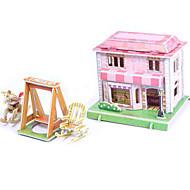 Palapelit DIY-setti 3D palapeli Rakennuspalikoita DIY lelut Talo Arkkitehtuuri