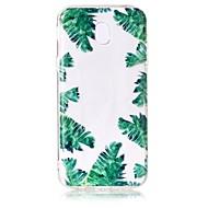 Case voor Samsung Galaxy J7 perx j7 (2017) hoesje groen bladeren patroon gevoel vernis reliëf hoge penetratie tpu materiaal telefoon