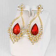 여성용 드랍 귀걸이 모조 사파이어 모조 다이아몬드 패션 의상 보석 합금 Flower Shape 보석류 제품 파티 약혼 일상