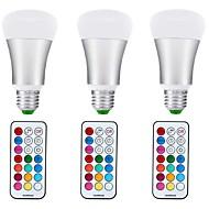 10W Lâmpada Redonda LED A70 1 COB 1000 lm RGB + quente Regulável Decorativa V 3 pçs E27
