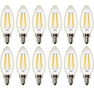 4W LED필라멘트 전구 C35 4 COB 400 lm 따뜻한 화이트 밝기조절가능 장식 AC 220-240 AC 110-130 V 12개