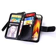 voor case cover kaarthouder portemonnee flip magnetisch full bodycase vaste kleur hard echt leer voor Samsung Galaxy A3 (2017) a5 (2017)