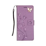 voor case cover kaarthouder portemonnee strass met stand flip magnetisch reliëf full body case vlinder hard pu leer voor Samsung Galaxy