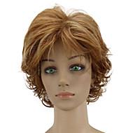 Naisten Synteettiset peruukit Suojuksettomat Lyhyt Kihara Golden Brown Raidoitetut hiukset Kerroksittainen leikkaus Luonnollinen peruukki