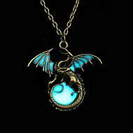 Heren Dames Hangertjes ketting Cirkelvorm Draak Wings Brons Fluorescerend Legering Dierenontwerp Punk-stijl Verlicht Kostuum juwelen