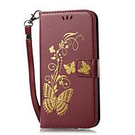 til kuffert kortholder lommebok med stativ flip magnetisk præget mønster fuld kropscase fast farve sommerfugl hard pu læder til