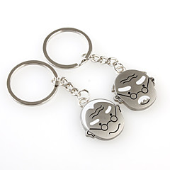 Grandpa and Grandma Shaped Metal Keychain, Pair
