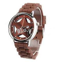 Hollow Out Star Pattern Design Unisex Quartz Wrist Watch with Crystal Decoration - Brown
