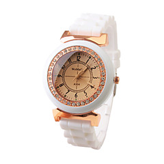 Jam Tangan Kuarsa Tali Silikon Fashion untuk Wanita (Putih)