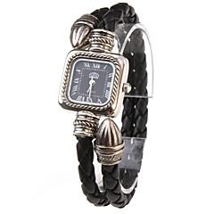 Women's Quartz Analog Black PU Rope Band Bracelet Watch