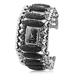 Women's Alloy Analog Quartz Bracelet Rugby Beads Watch (Black)