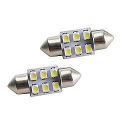 31 milímetros 6 * 1210 branco carro lideradas luzes de sinalização (2-pack, 12V DC)