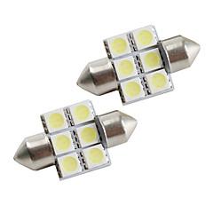 31 milímetros 6 * 5050 SMD carro branco lideradas luzes de sinalização (2-pack, 12V DC)