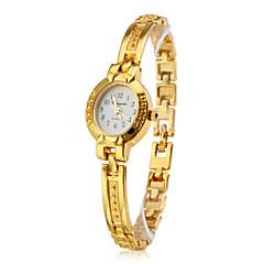 Women's Fashionable Style Alloy Analog Quartz Bracelet Watch (Gold)