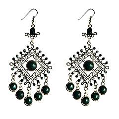 Lureme®Vintage Silver Pendant Turquoise Earrings