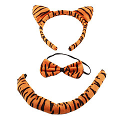 Plush 3-in-1 Lovely Tiger Ear Headband + Bow Tie + Tail Costume Set for Halloween Masquerade Party