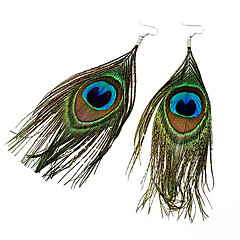 Women's Drop Earrings Bohemian Fashion Folk Style Feather Fabric Alloy Feather Peacock Jewelry For Party