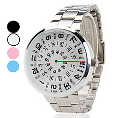 Unisex Creative Turntable Style Silver Steel Band Quartz Wrist Watch (Assorted Colors) Cool Watch Unique Watch Fashion Watch
