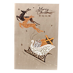 10-Pack Christmas Reindeer Hollow Pattern Christmas Greeting Card with Envelope (10-inch)