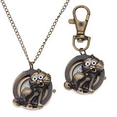 Unisex Cat Stil Legierung Analog Quarz Schlüsselbund Halskette Uhr (Bronze)
