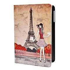 menina e padrão Torre Eiffel estojo de couro pu w / stand para iPad mini 3, mini iPad 2, iPad mini