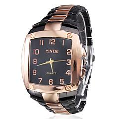 mannen vierkante behuizing zwart-goud legering quartz analoog horloge