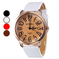 quartzo analógico bronze caso pu banda relógio de pulso das mulheres (cores sortidas)