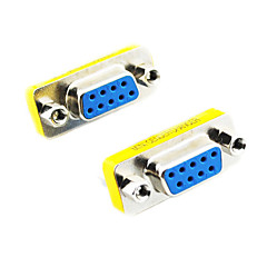 DE9 Serial RS-232 9pin Female to Female Adapter (Silver & Yellow, 2 PCS)