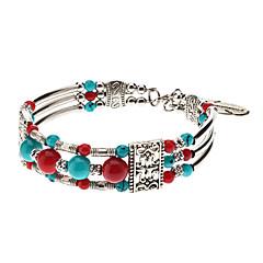 Folk Style 4 Beads Totem Pattern Silver Plating Bracelace