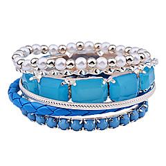 Lureme®Acrylic Bead Leather Bracelet Set (Black+White)