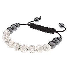 9 Fully-jewelled Metal Ball Black Diamonds Hand-knitted Bracelet